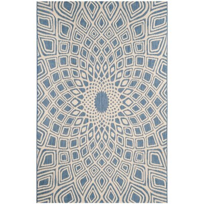 Estella Blue/Beige Indoor/Outdoor Area Rug Rug Size: 53 x 77