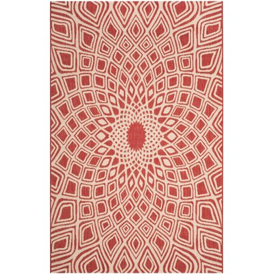Mullen Red/Beige Indoor/Outdoor Area Rug Rug Size: Rectangle 2 x 37
