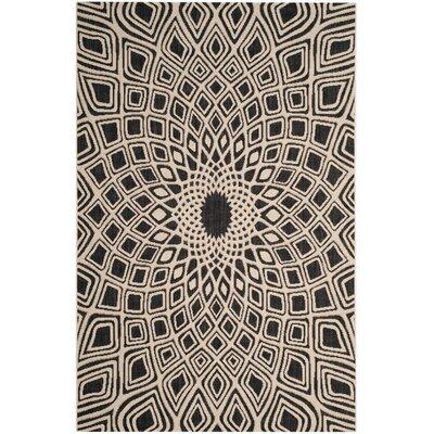 Estella Black/Beige Indoor/Outdoor Area Rug Rug Size: 2 x 37