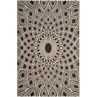 Mullen Black/Beige Indoor/Outdoor Area Rug Rug Size: 53 x 77