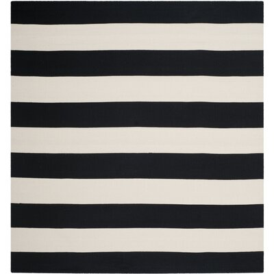 Skyler Hand-Woven Cotton Black/White Area Rug Rug Size: Rectangle 10 x 14