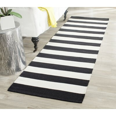 Skyler Hand-Woven Cotton Black/White Area Rug Rug Size: Runner 23 x 13