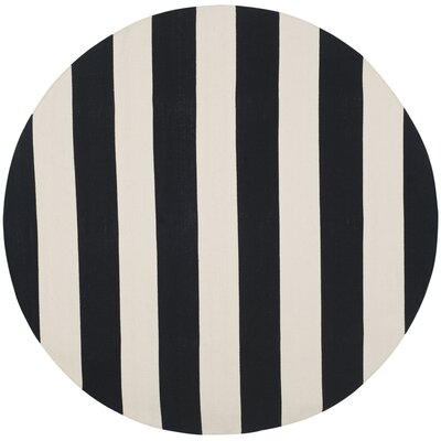 Skyler Hand-Woven Black / Ivory Area Rug Rug Size: Round 4