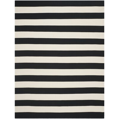 Skyler Hand-Woven Black / Ivory Area Rug Rug Size: 6 x 9