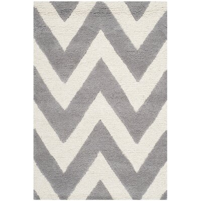 Daveney Hand-Tufted Wool Silver/Ivory Area Rug Rug Size: Rectangle 2' x 3'