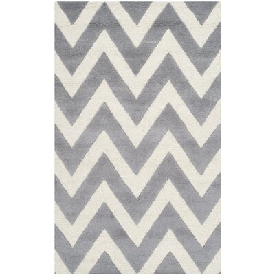Kyleigh Hand-Tufted Silver/Ivory Area Rug Rug Size: 4 x 6
