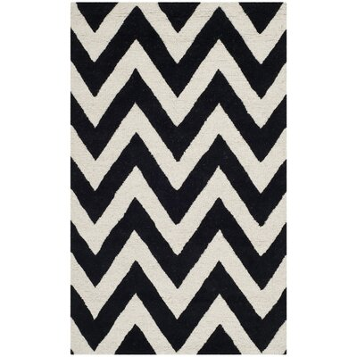 Daveney Hand-Tufted Wool Black/Ivory Area Rug Rug Size: Rectangle 3 x 5