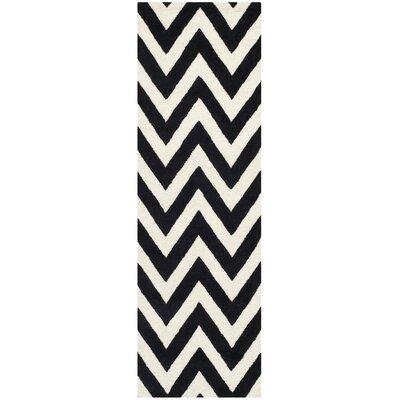 Kyleigh Hand-Tufted Black/Ivory Area Rug Rug Size: Runner 26 x 10