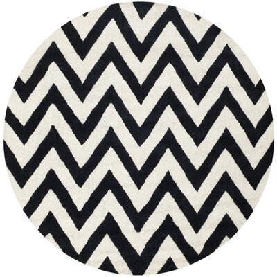 Daveney Hand-Tufted Black/Ivory Area Rug Rug Size: Round 6
