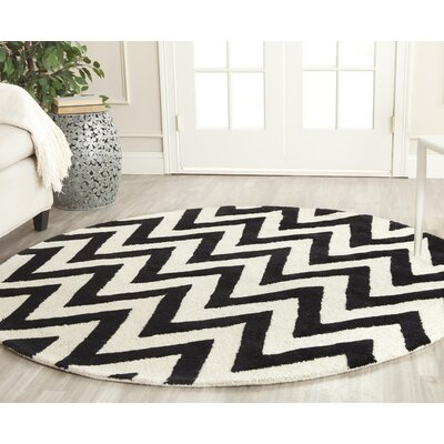 Daveney Hand-Tufted Wool Black/Ivory Area Rug Rug Size: Round 4