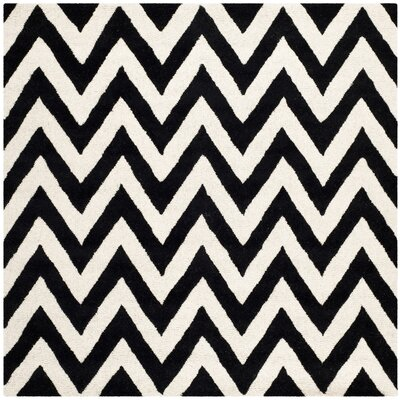 Kyleigh Hand-Tufted Black/Ivory Area Rug Rug Size: Square 6