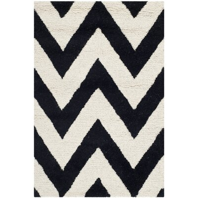 Kyleigh Hand-Tufted Black/Ivory Area Rug Rug Size: 2 x 3