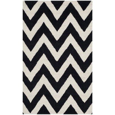 Daveney Hand-Tufted Black/Ivory Area Rug Rug Size: 3 x 5