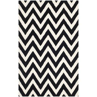 Daveney Hand-Tufted Black/Ivory Area Rug Rug Size: 6 x 9