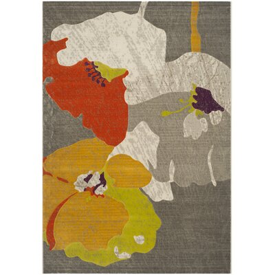 Nanette Dark Grey / Ivory Area Rug Rug Size: 52 x 76