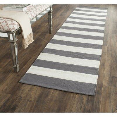 Skyler Hand-Woven Cotton Gray/Ivory Area Rug Rug Size: Runner 23 x 117