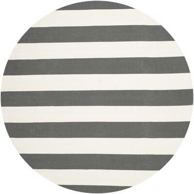 Skyler Hand-Woven Cotton Gray/Ivory Area Rug Rug Size: Round 6
