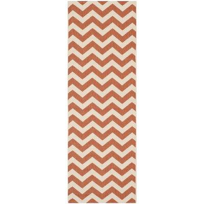 Mullen Terracotta/Beige Indoor/Outdoor Area Rug Rug Size: Runner 23 x 67