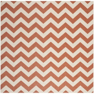 Mullen Terracotta/Beige Indoor/Outdoor Area Rug Rug Size: Square 710