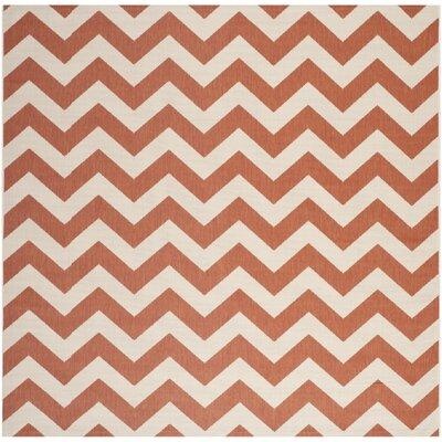 Estella Terracotta/Beige Indoor/Outdoor Area Rug Rug Size: Square 53
