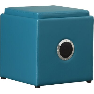 Waller Leather Speaker Ottoman Upholstery: Blue