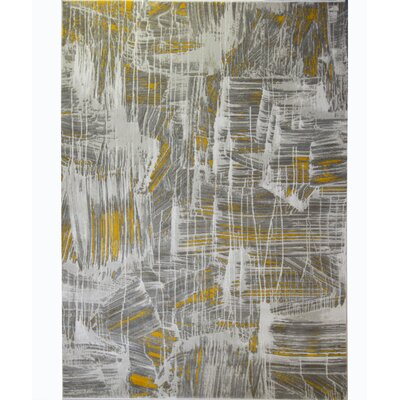 Tricia White/Yellow Area Rug Rug Size: 710 x 102