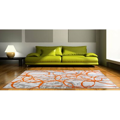 Tricia Ivory/Orange/Gray Area Rug Rug Size: Rectangle 52 x 72
