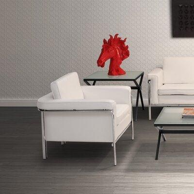 Nadine Leatherette Sofa Upholstery: White