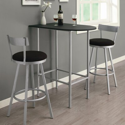 Myrtle Spacesaver Pub Table Finish: Black with Silver Metal