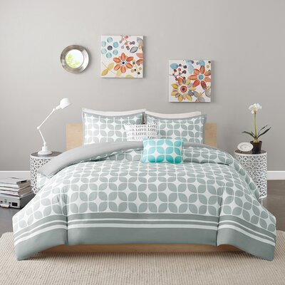 Young Duvet Cover Set Size: Full/Queen, Color: Gray