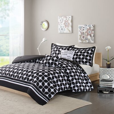 Young Comforter Set Size: Full / Queen, Color: Black