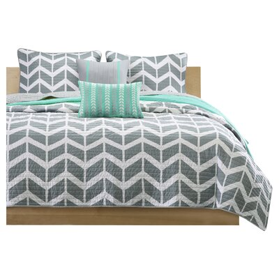 Willard Quilt Set Size: Full / Queen, Color: Teal