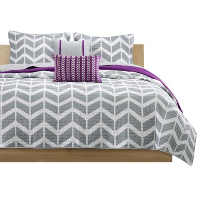 Willard Quilt Set Size: Full / Queen, Color: Gray