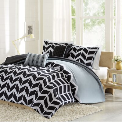 Willard Duvet Cover Set Size: King / California King, Color: Black