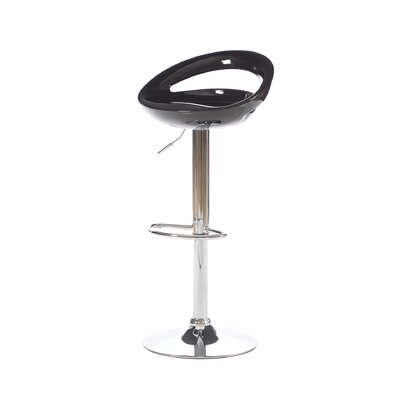 Delaney Adjustable Height Swivel Bar Stool Upholstery: Black