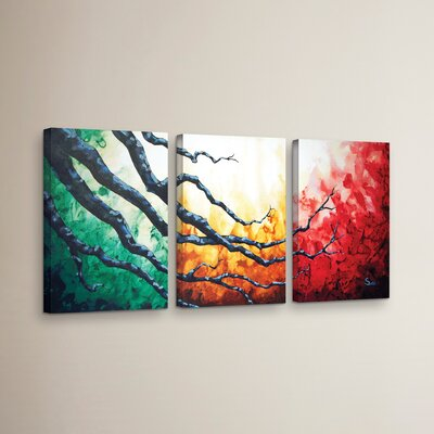 'Higher' 3 Piece Painting Print on Wrapped Canvas Set Size: 18