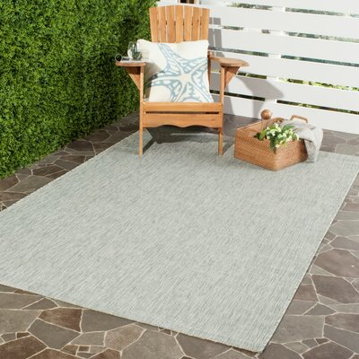 Adelia Gray/Turquoise Indoor/Outdoor Area Rug Rug Size: 9 x 12