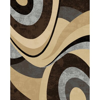 Kirby Gray/Brown Area Rug Rug Size: 52 x 72