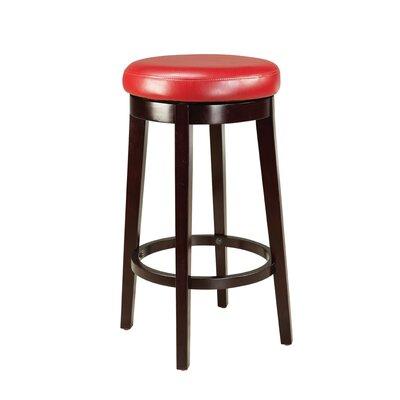 Kaitlin Swivel Bar Stool Height: 29, Upholstery: Red
