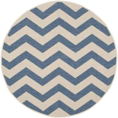 Mullen Blue/Beige Indoor/Outdoor Area Rug Rug Size: Round 4