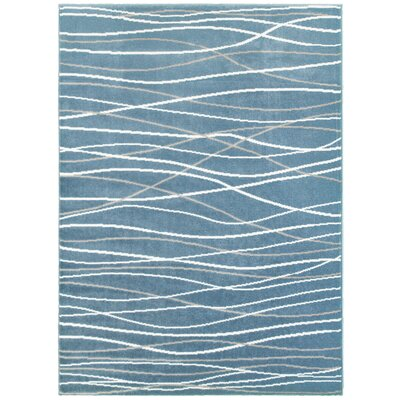 Ky Grace Teal Blue/Beige/White Area Rug Rug Size: 76 x 96