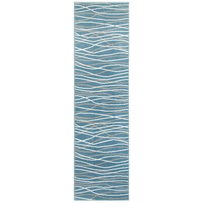 Ky Grace Teal Blue/Beige/White Area Rug Rug Size: Runner 2 x 77