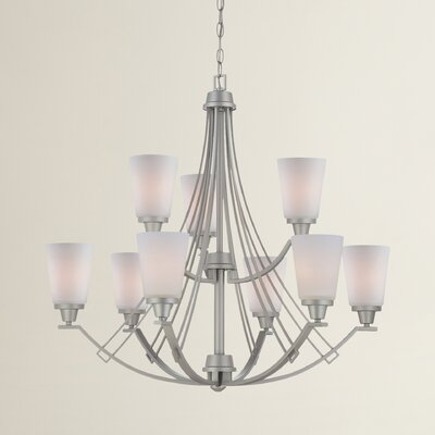 Simpson 9-Light Shaded Chandelier Finish: Matte Nickel