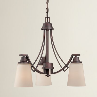Simpson 3-Light Shaded Glass/Crystal Chandelier Finish: Espresso