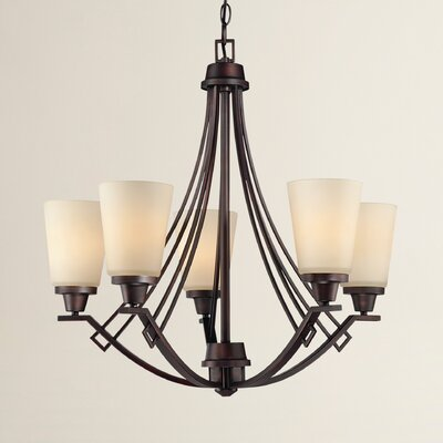 Simpson 5-Light Shaded Glass/Crystal Chandelier Finish: Espresso