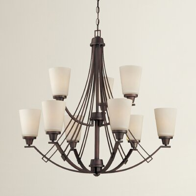 Preston 9-Light Shaded Chandelier Finish: Espresso