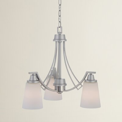 Simpson 3-Light Shaded Glass/Crystal Chandelier Finish: Matte Nickel