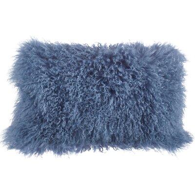 Becky Fur Lumbar Pillow Color: Blue / Gray