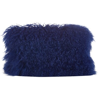 Becky Fur Lumbar Pillow Color: Cobalt Blue