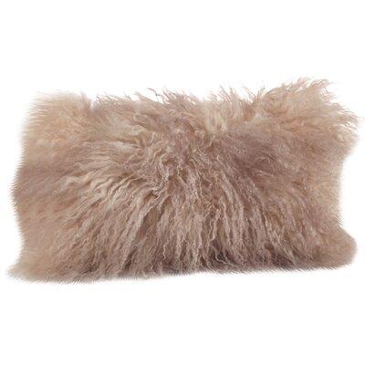 Becky Lamb Fur Lumbar Pillow Color: Oyster